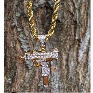 Jewelry - 18k  gold plated Diamond UZI Pendant & Rope Chain